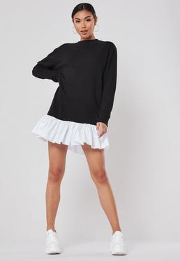 Черное платье-свитер с поплином