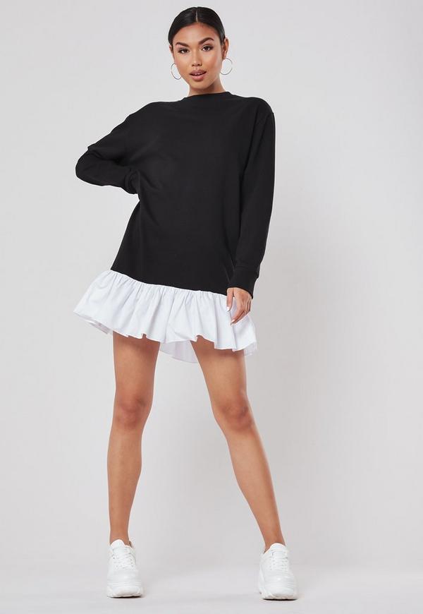 42e450d17583d Grey Roll Sleeve T Shirt Dress | Missguided Australia