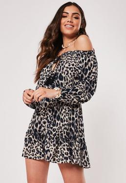 b615f25ebc Brown Leopard Print Cami Shift Dress