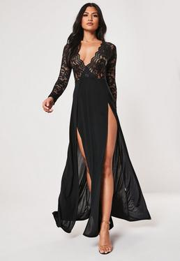 1839a8e956 ... Black Lace Extreme Split Maxi Dress