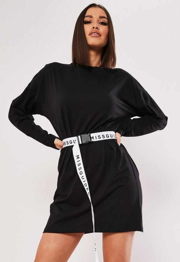 Black Belted Msgd Oversized Mini T Shirt Dress Missguided