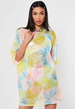 55ec671af15 ... Tie Dye Oversized Mesh T Shirt Dress
