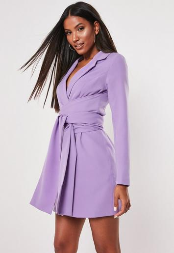 Lilac Extreme Wrap Belted Blazer Dress by Missguided