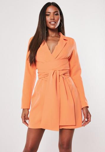 Orange Extreme Wrap Belted Blazer Dress by Missguided