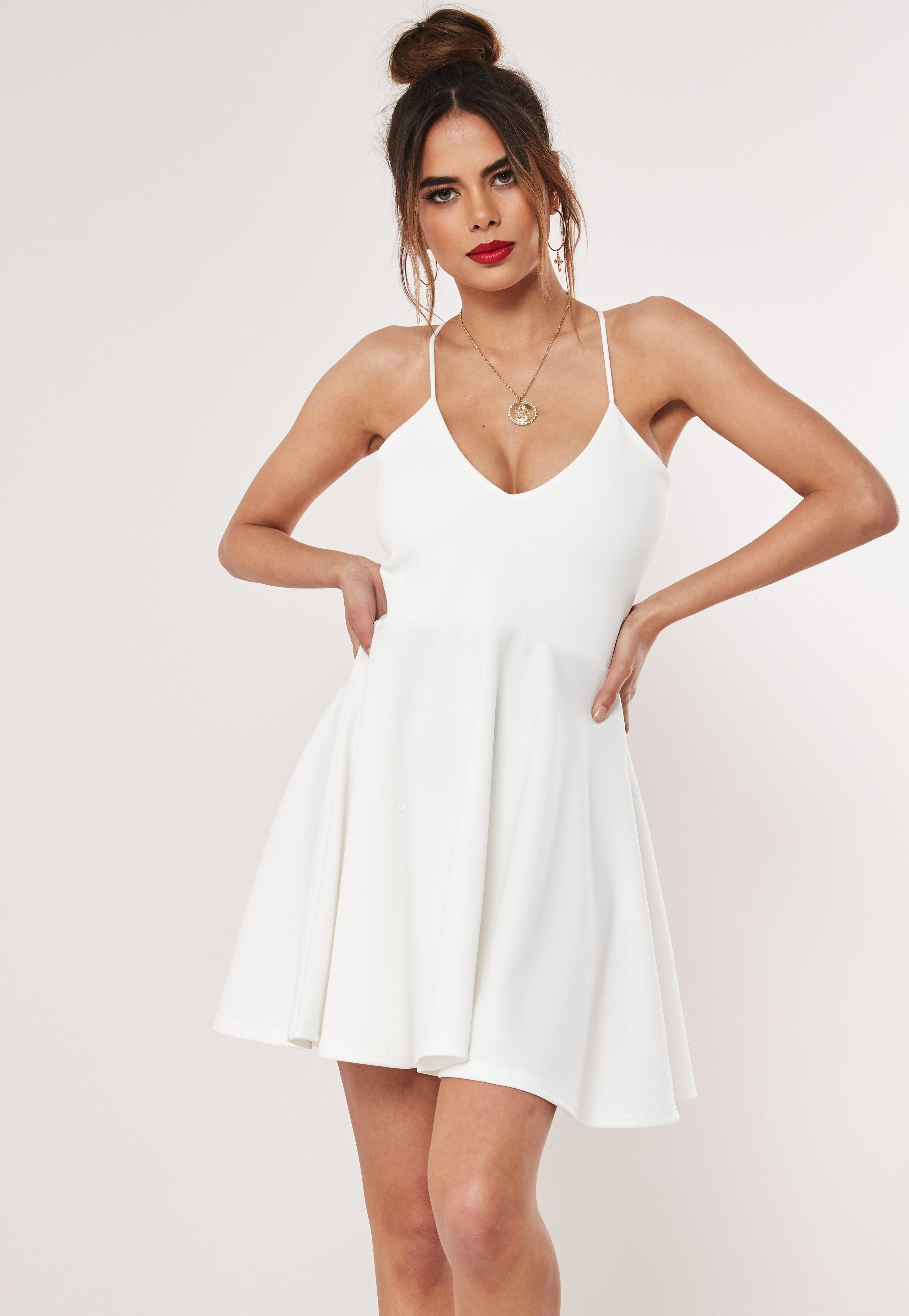 4980433c4a4c8 White Strappy Skater Mini Dress | Missguided