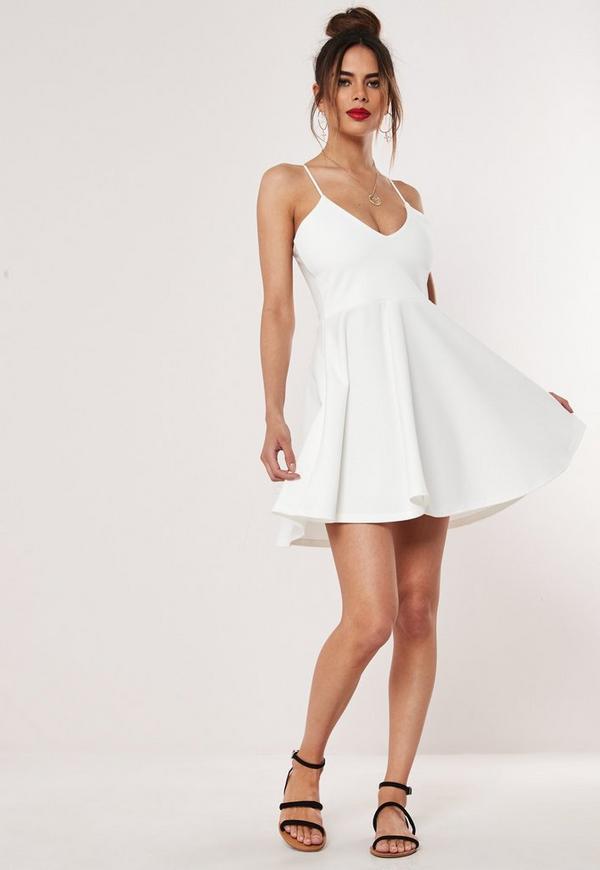 996f106ef28d White Strappy Skater Mini Dress. Previous Next