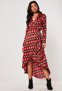 bfa0a123e4 ... Red Leopard Print Wrap Shirt Maxi Dress