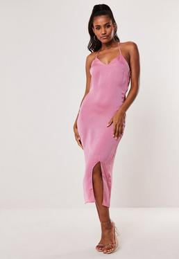 aa641ed97a9 Pink Satin Cross Back Midi Dress