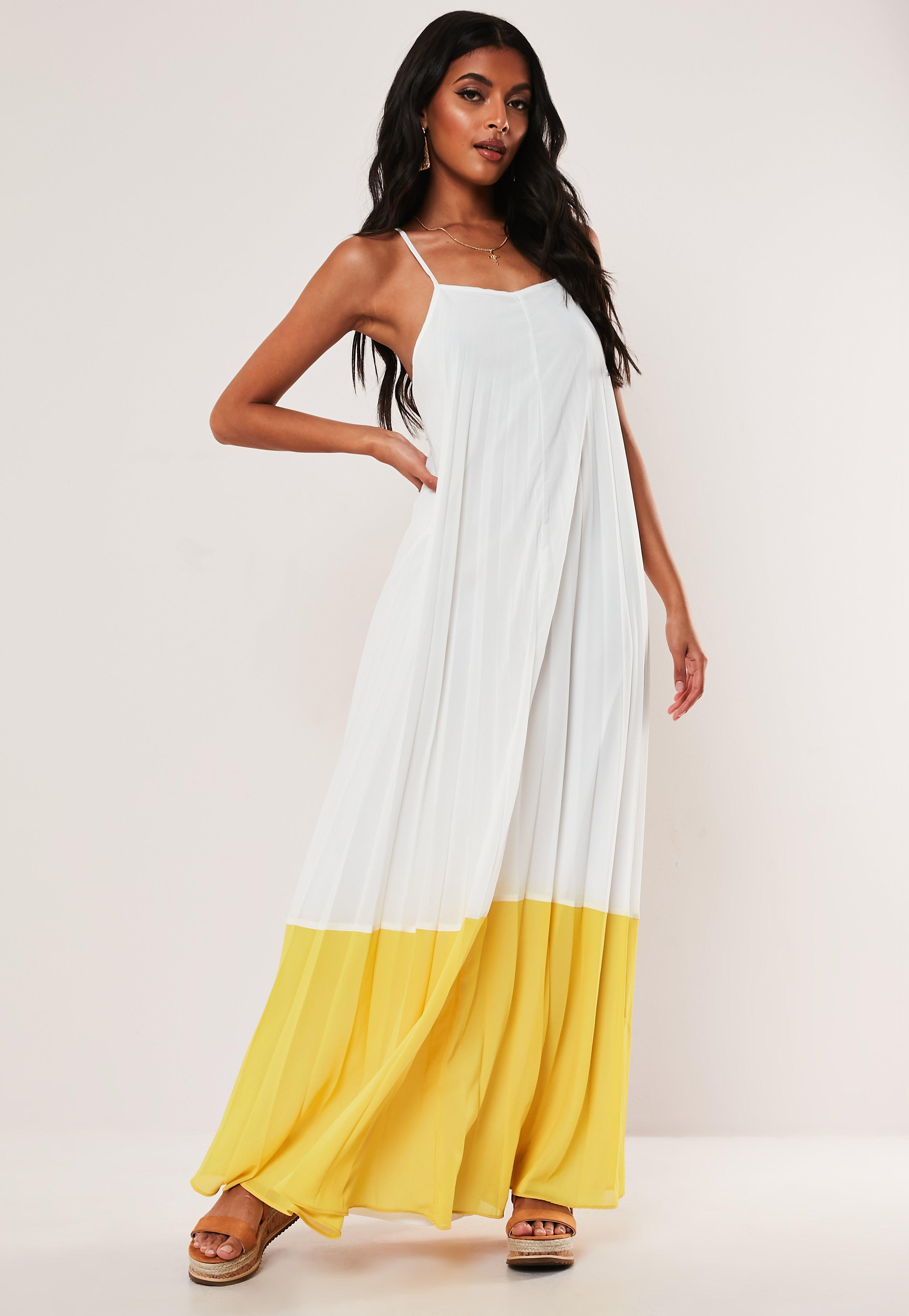 White Strappy Pleated Colorblock Maxi Dress by Missguided