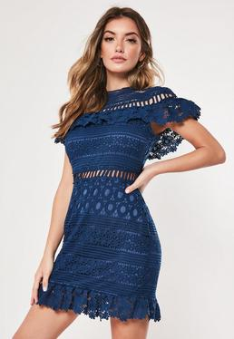 0b014106743 ... Navy Lace High Neck Short Sleeve Skater Dress