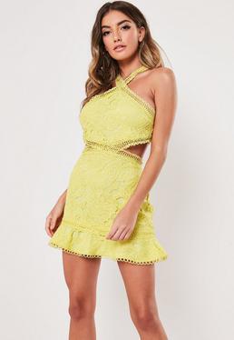 dc48b707e6d ... Bodycon Mini Dress · Yellow Lace Halterneck Cut Out Dress