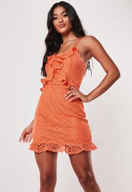 Коралловое кружевное чайное платье с талией Cami
