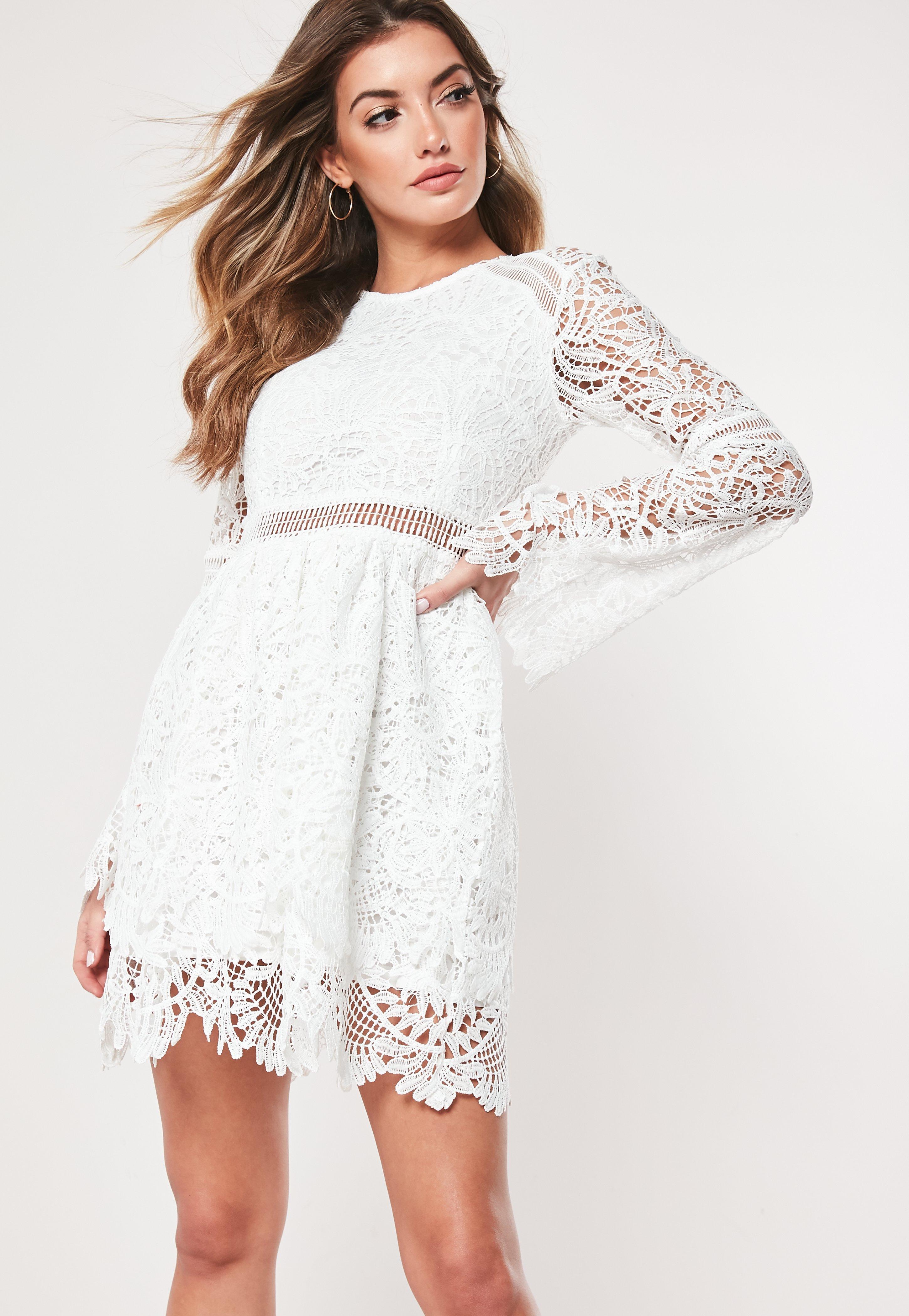 ba906d45d Long Sleeve Lace Skater Dress White - raveitsafe