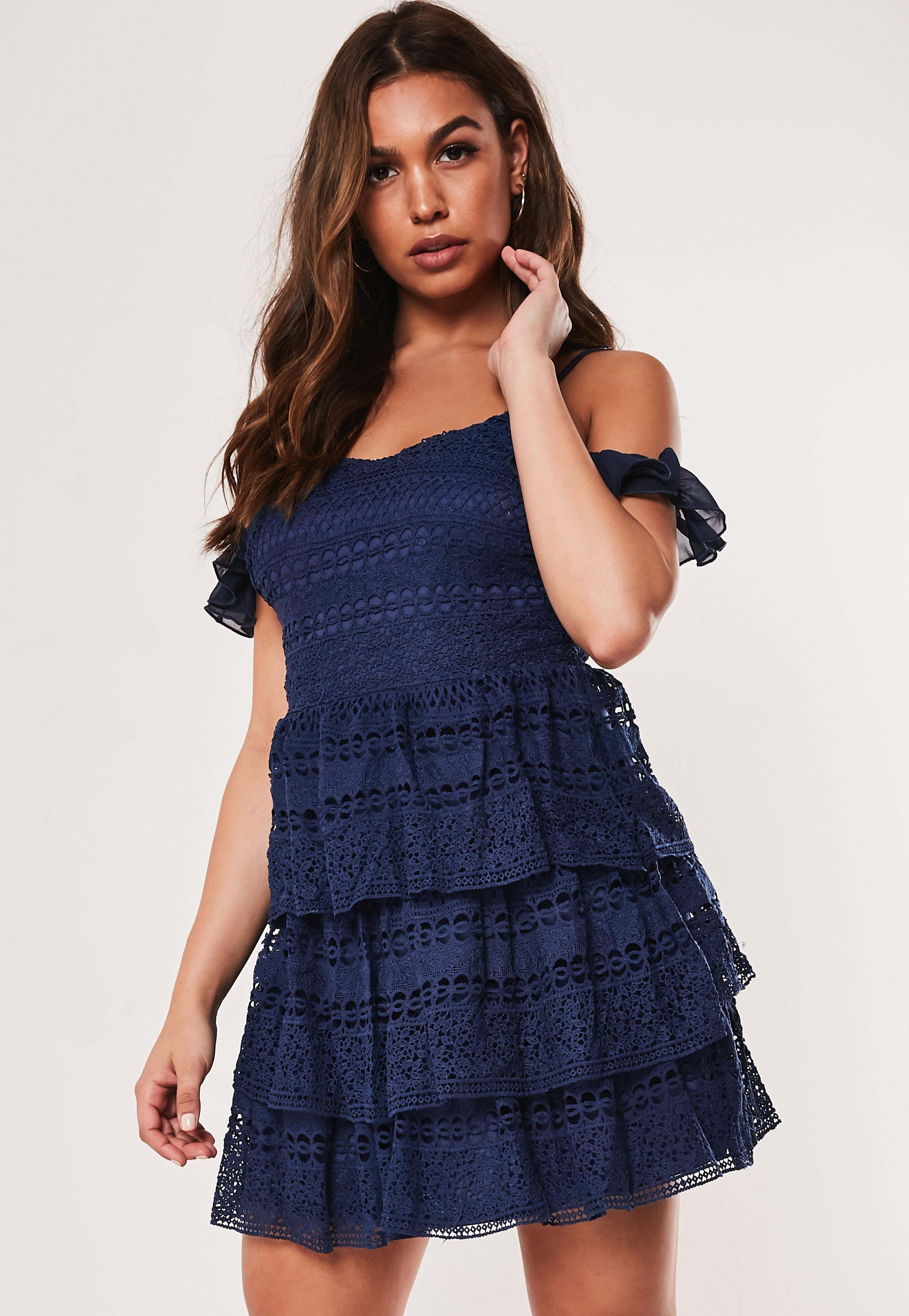 Blue Lace Cold Shoulder Tiered Mini Dress