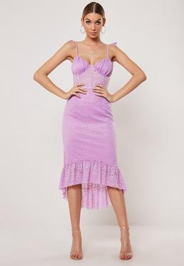7950421b4ce ... Lilac Lace Cami Tie Strap Dip Hem Midi Dress