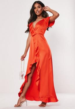 7763299e5c0 ... robe longue rouge vrille devant et volants