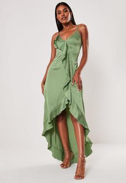9ce591e317c4 ... Green Cami V Plunge Frill Maxi Dress