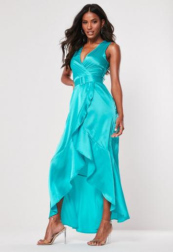 Turquoise Satin Wrap Buckle Maxi Dress Missguided Ireland