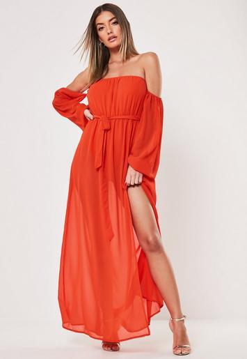 Orange Bardot Long Sleeve Maxi Dress by Missguided