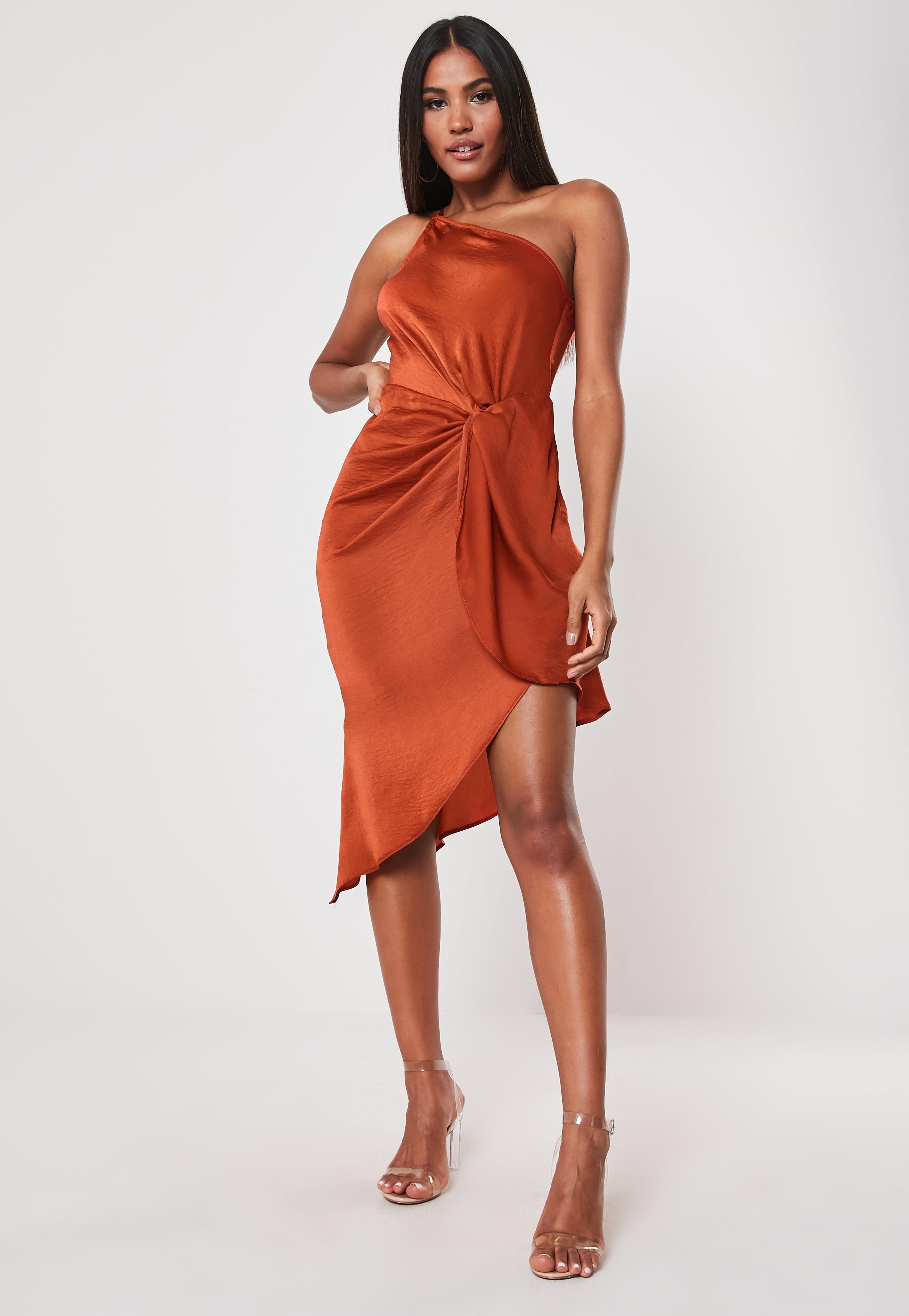 f4b70aef60f4d Orange One Shoulder Drape Midi Dress