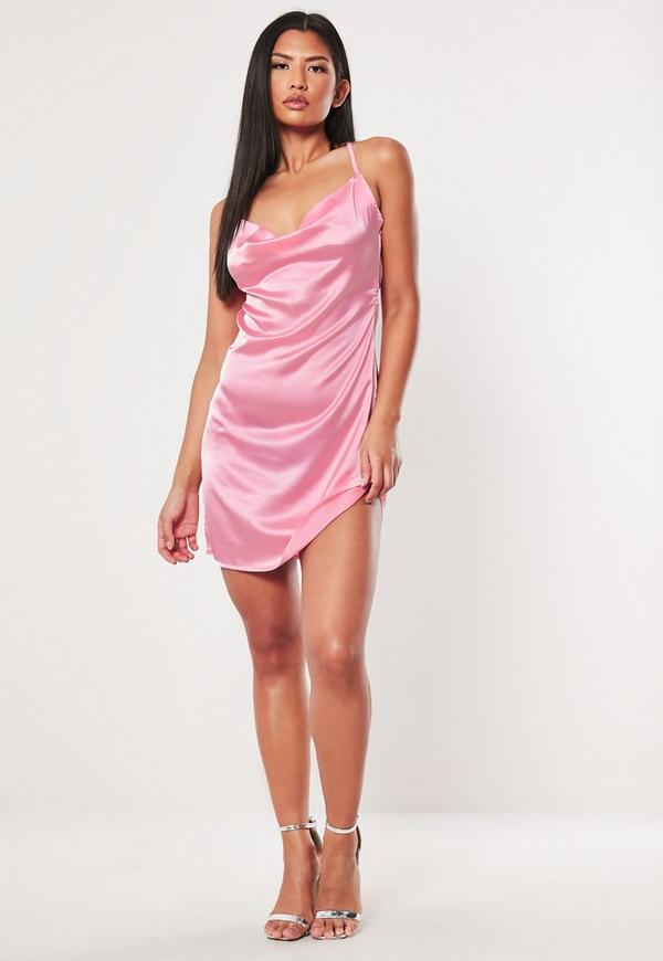 4df80e0f77c3 ... Pink Satin Cowl Neck Mini Dress. Previous Next