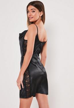 a345c629031 Black Satin Lace Side Cowl Neck Mini Dress