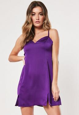 c94849a48f Purple Satin Cami Side Split Skater Dress