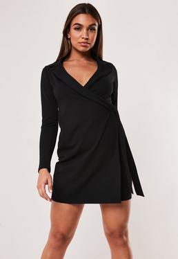 29654356595 Orange Asymmetric Blazer Dress · Black Stretch Wrap Blazer Dress