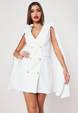 6a6ea5b8668 White Cape Double Breasted Blazer Dress