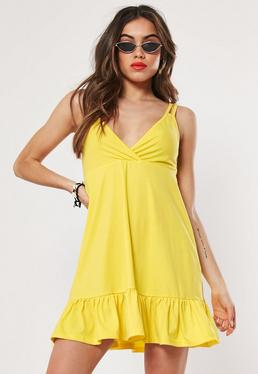 083b7e1aed ... Yellow Cami Double Strap Frill Hem Dress