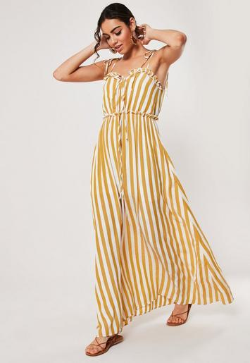 Mustard Stripe Print Cami Tie Maxi Dress by Missguided