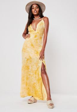 dd0e8d74a12 Yellow Tie Dye Plunge Maxi Dress