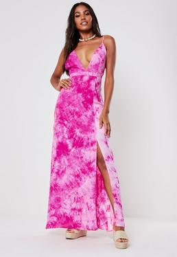 ebc37f3f9c6 Pink Tie Dye Plunge Maxi Dress