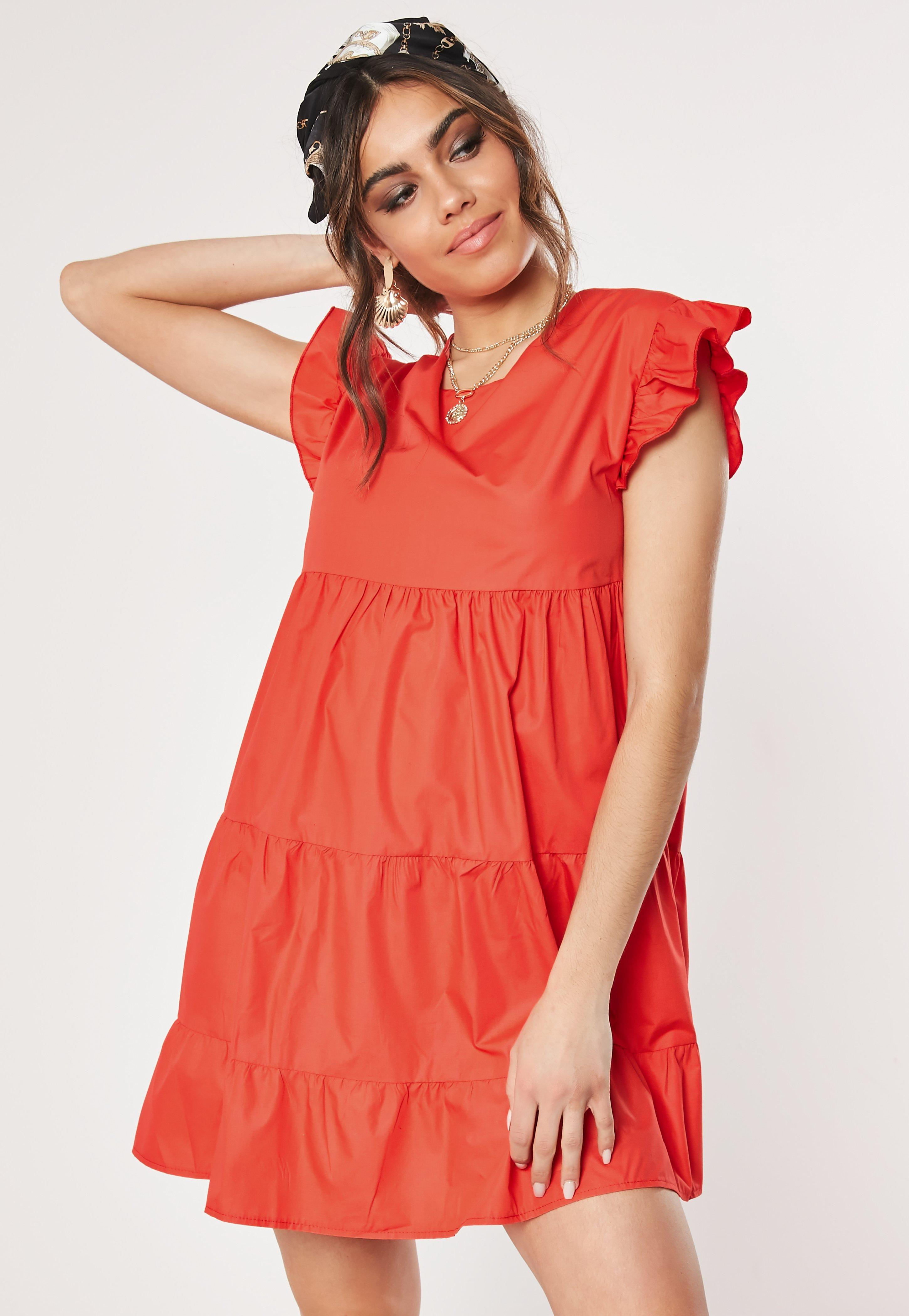 Red Tiered Frill Smock Dress by Missguided