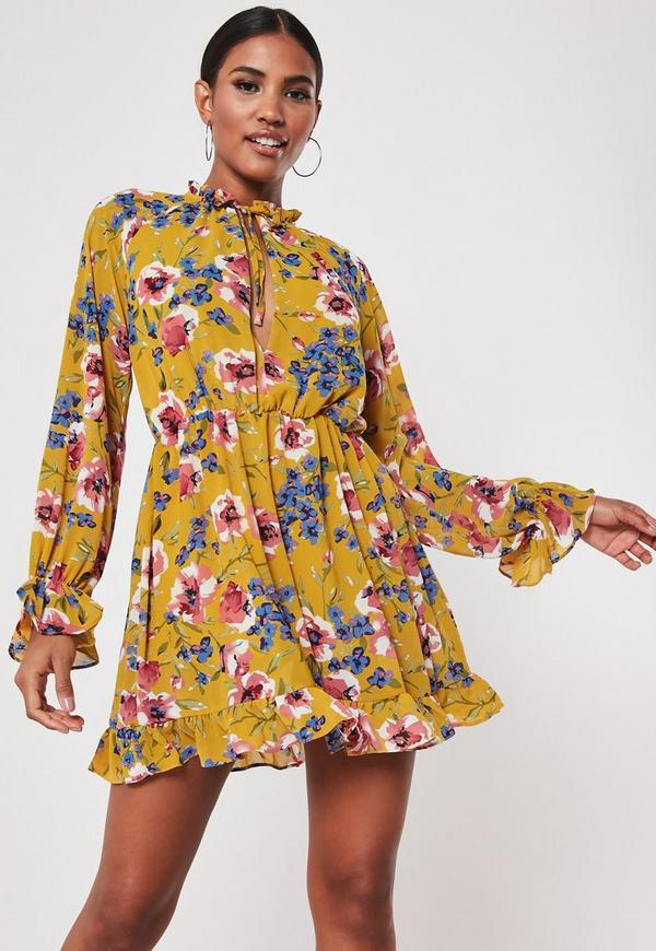 Yellow Floral High Neck Smock Dress Missguided