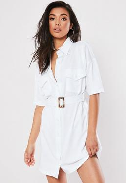 ae6782178e White Jersey Utility Shirt Dress