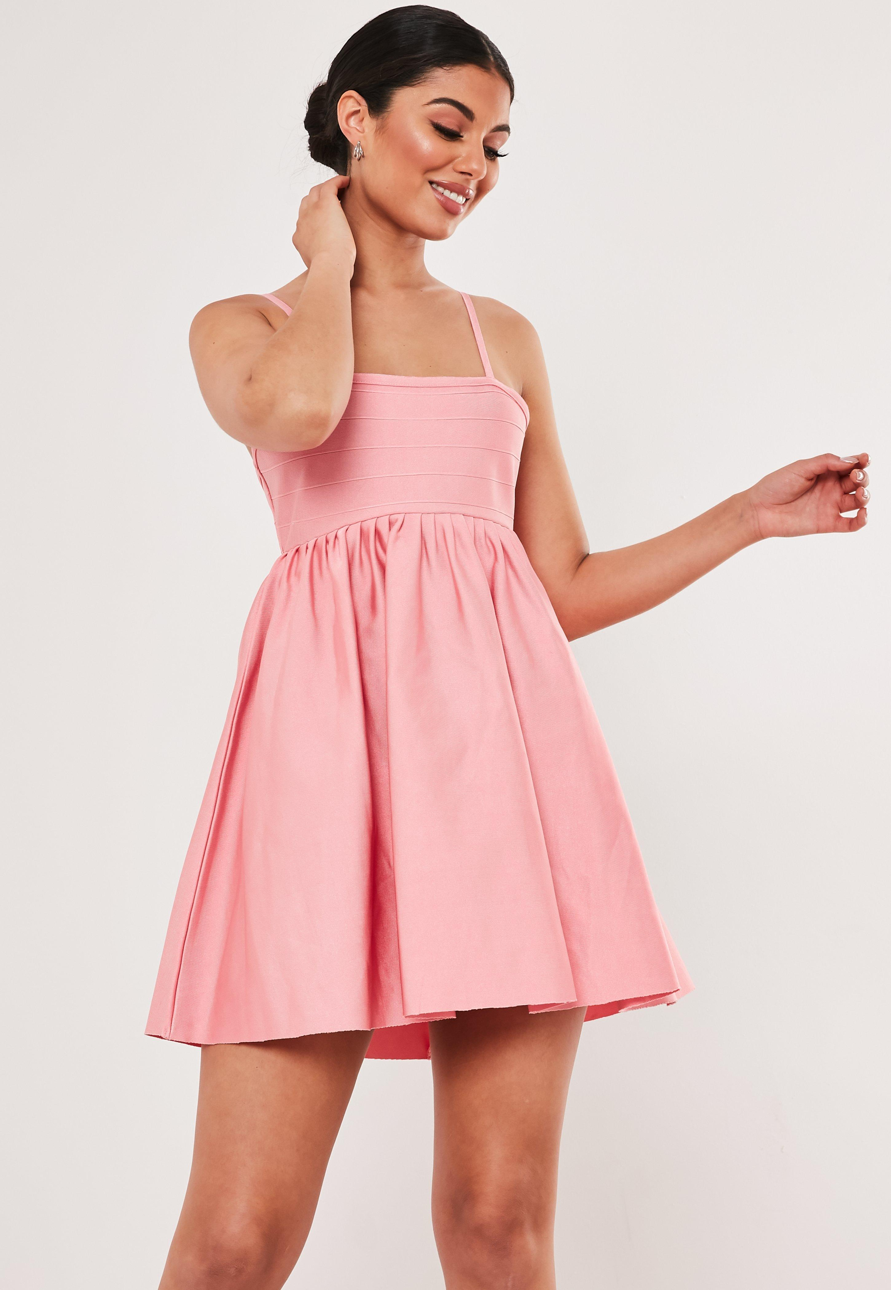 e672c460f671 Pink Bandage Strappy Mini Dress | Missguided