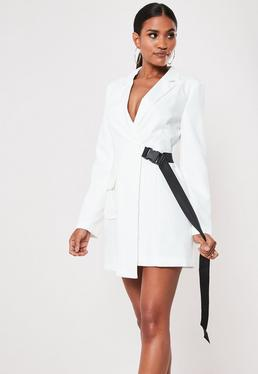a483afc8f5 ... White Seatbelt Buckle Blazer Mini Dress