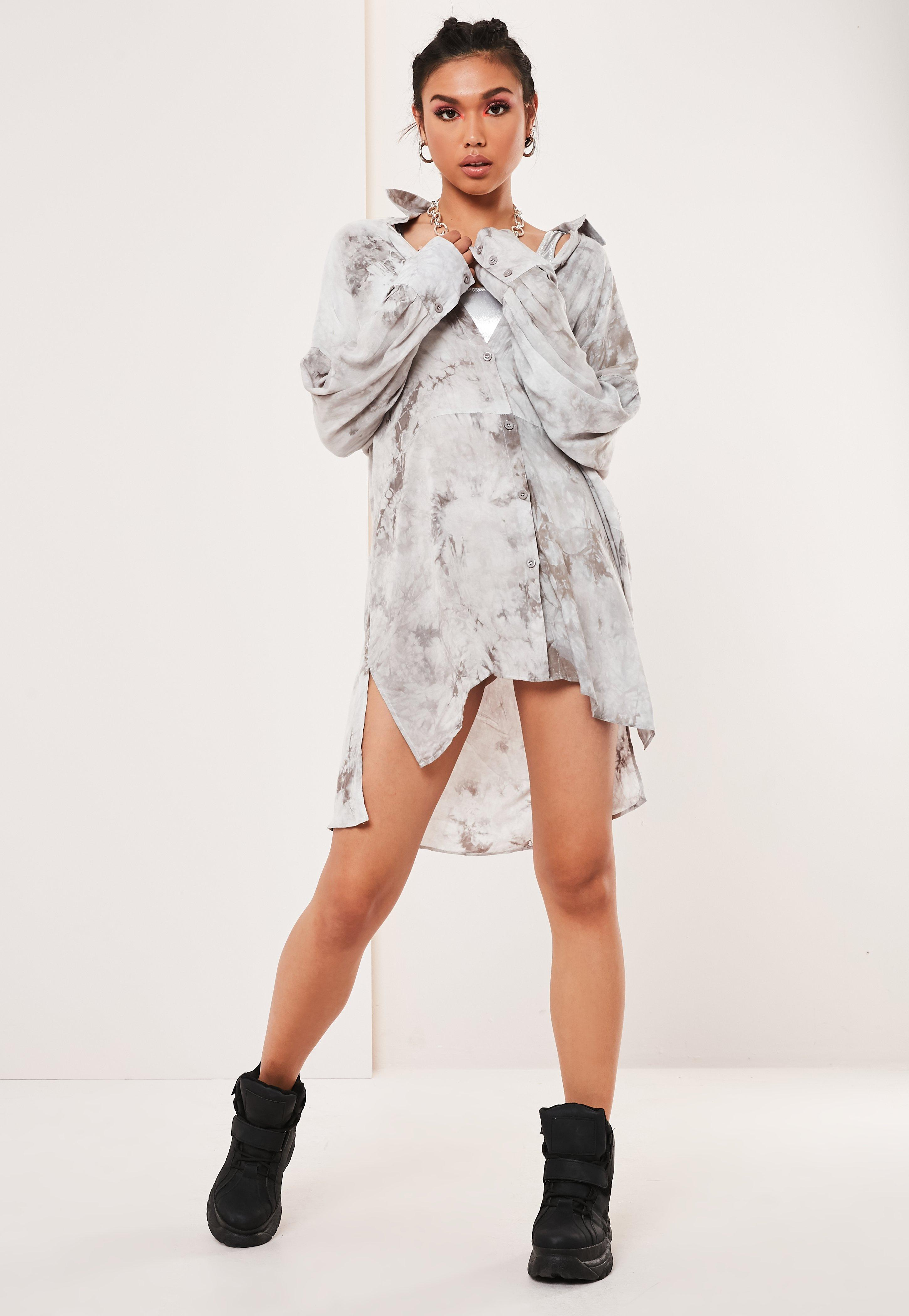 Grey Tie Dye Oversized Shirt Dress by Missguided