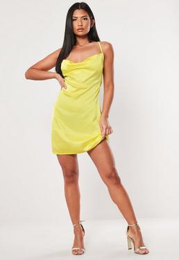 1c15eefe34e ... robe courte jaune col bénitier en satin