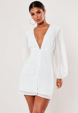 Белое шифоновое платье на пуговицах