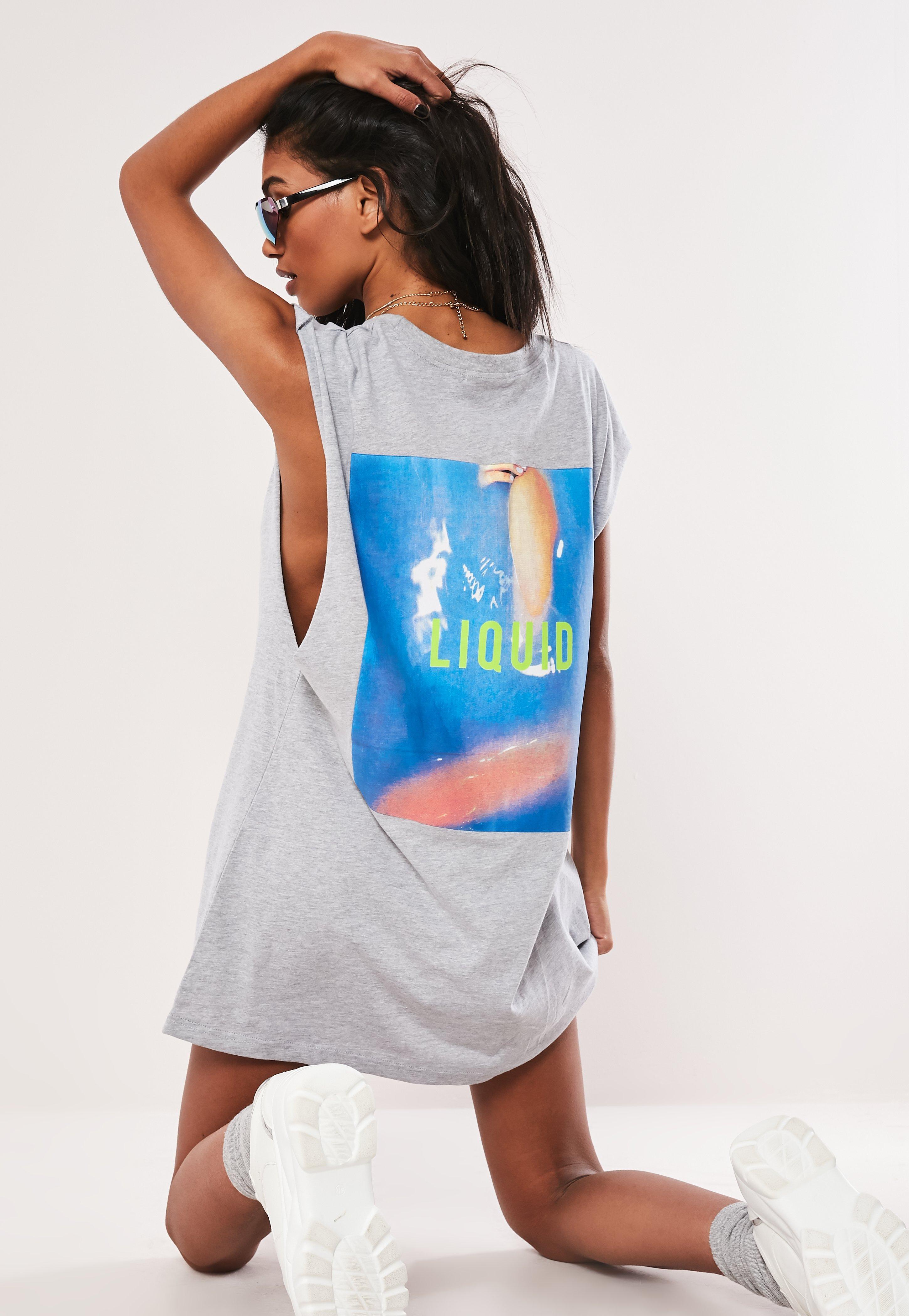 Graphisme Liquid À Shirt Gris Robe T Oversize zMSVUp