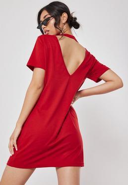 7a40bf1605b ... Red Basic V Back T Shirt Dress