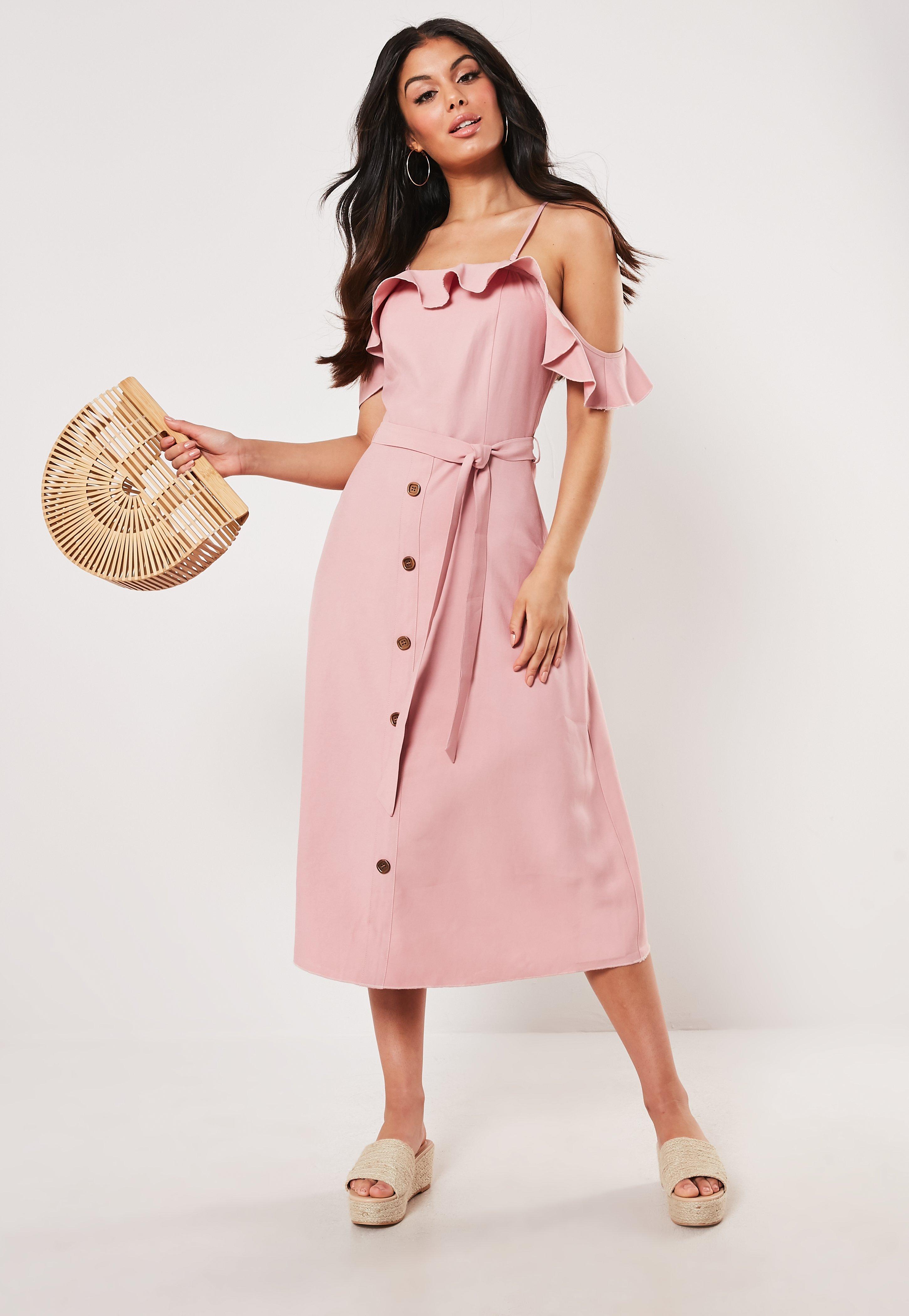 77aa3d771795 Blush Bardot Ruffle Down Midi Dress | Missguided