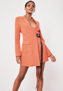 e8ae8ab83e Orange Seatbelt Buckle Blazer Mini Dress