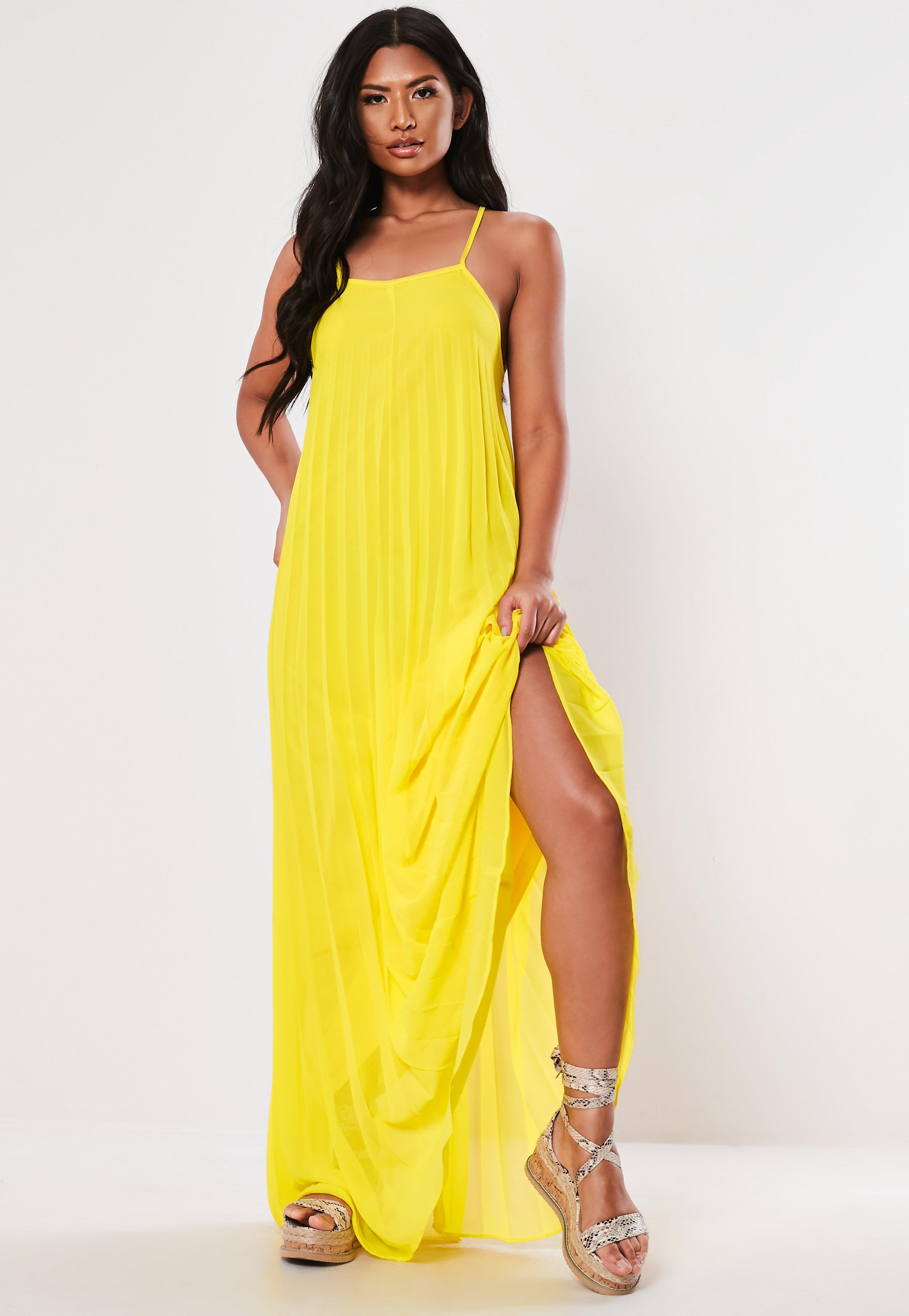 19cd844e05 Yellow Strappy Pleated Maxi Dress | Missguided