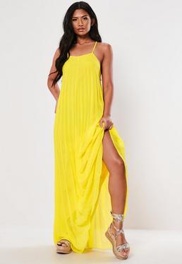 f99f7e6a37c9f5 Petite Black Split Leg Maxi Dress · Yellow Strappy Pleated Maxi Dress