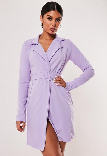 Lilac Self Belted Stretch Wrap Blazer Dress by Missguided