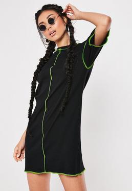 a694ed9ecbf Black Oversized Neon Contrast Stitch T Shirt Dress