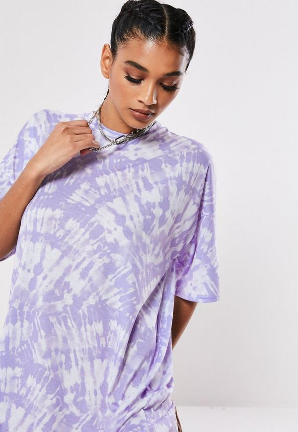 Lilac Oversized Tie Dye T Shirt Dress | Missguided